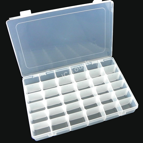 36 Grids Transparent Adjustable Slots Jewelry Bead Organizer Box Storage